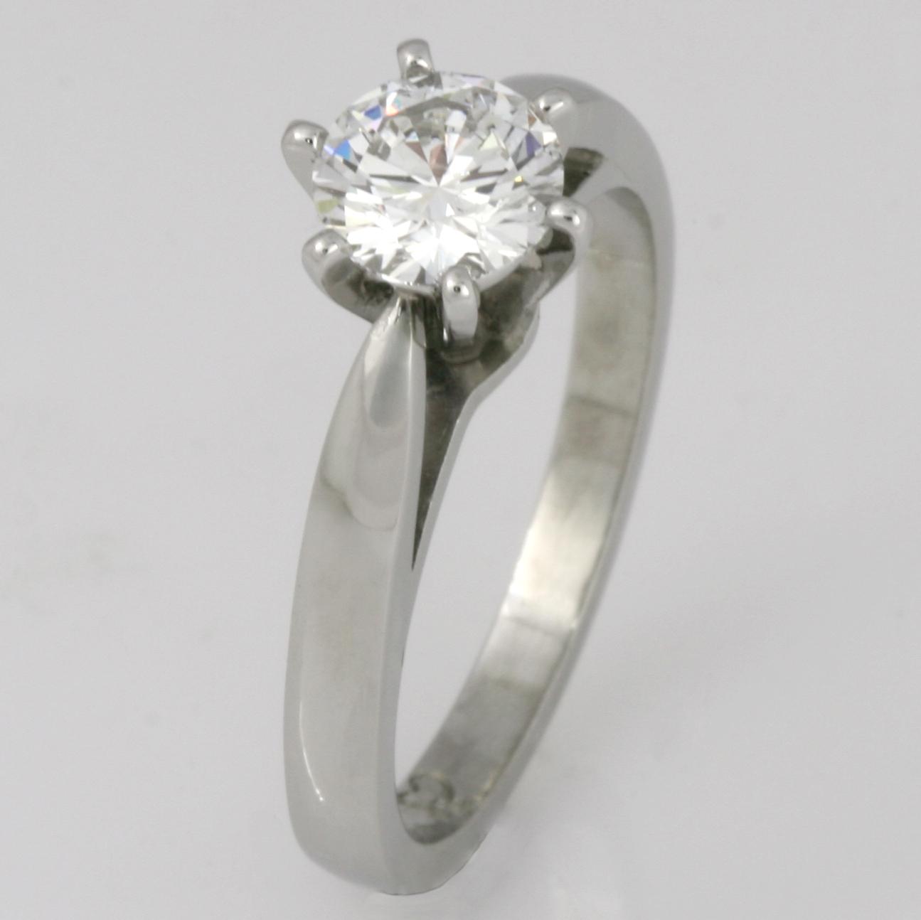 Handmade ladies platinum brilliant cut diamond engagement ring