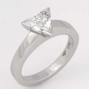 Handmade ladies platinum trilliant cut diamond engagement ring