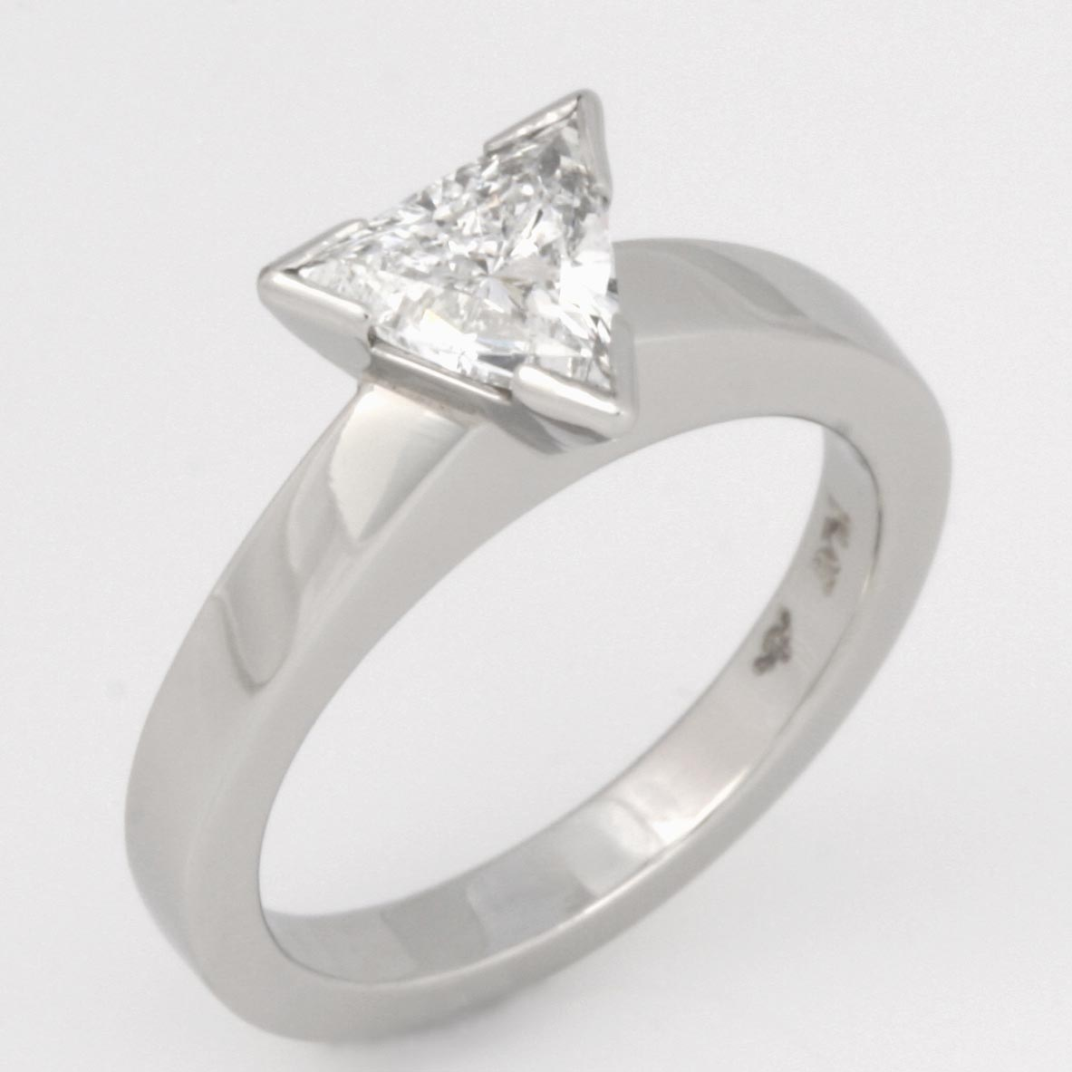 Handmade ladies platinum trilliant cut diamond engagement ring