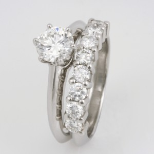 Handmade ladies platinum diamond engagement and wedding ring