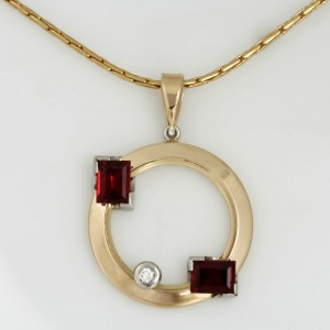 Handmade ladies 14ct yellow gold and palladium, diamond and synthetic ruby pendant