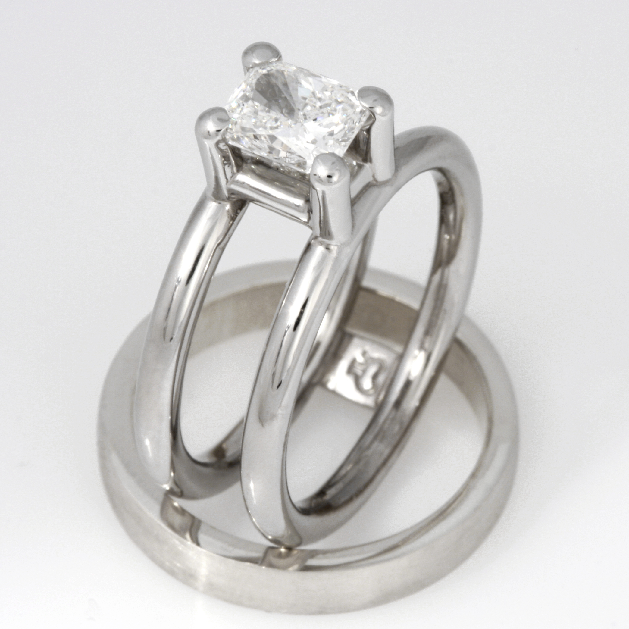 Handmade ladies palladium and platinum diamond engagement ring and 9ct white gold wedding ring set