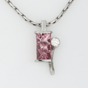 Handmade ladies palladium rose tourmaline and diamond pendant featured on white gold chain