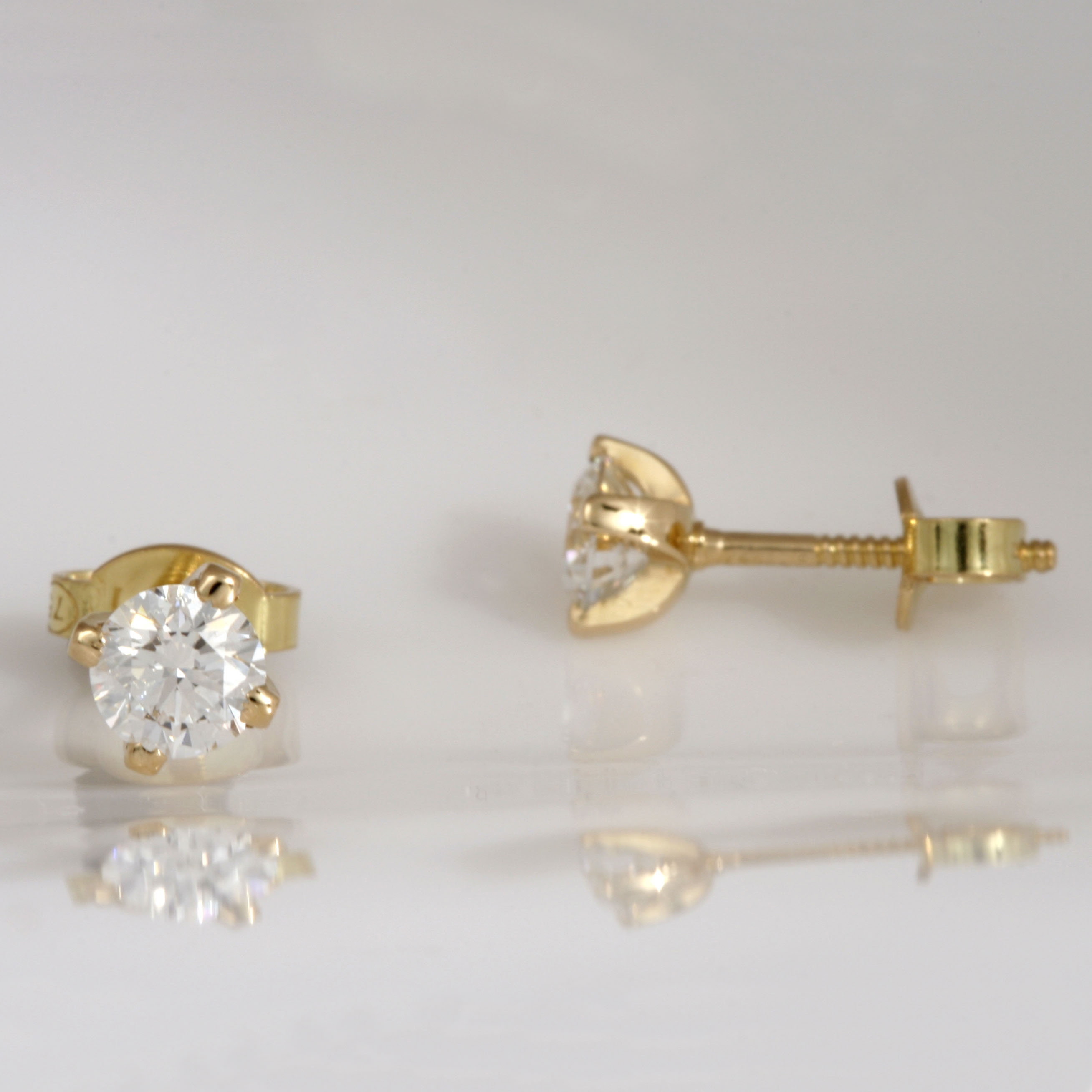 Handmade 18ct yellow gold diamond stud earrings with threaded post