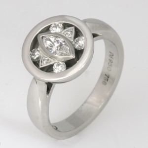 Handmade ladies palladium and white gold diamond ring