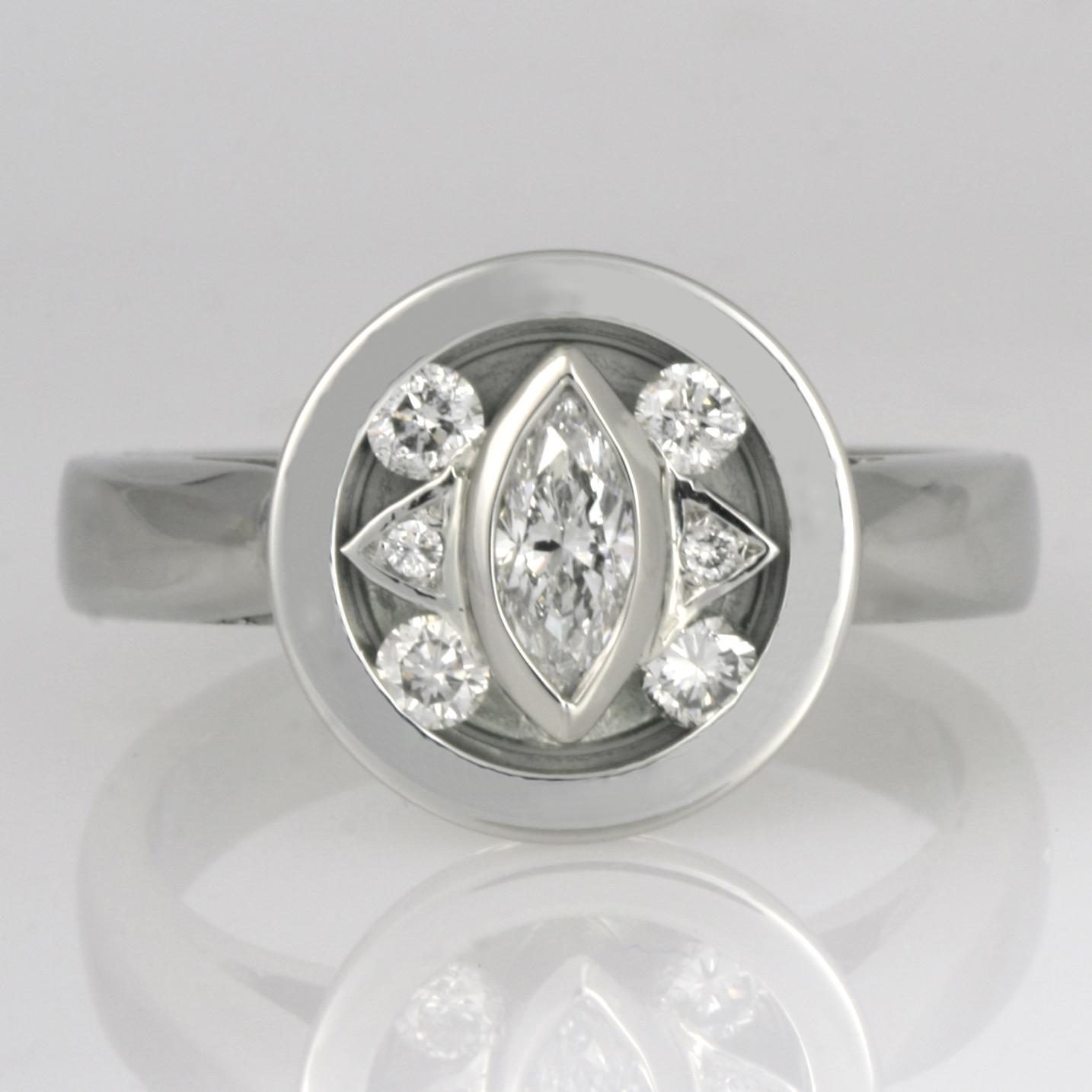 Handmade ladies palladium and white gold diamond ring