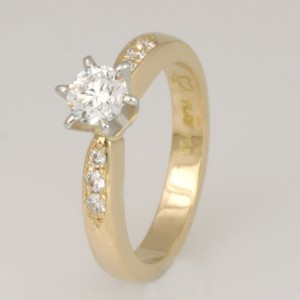 Handmade ladies 18ct yellow gold and platinum diamond ring