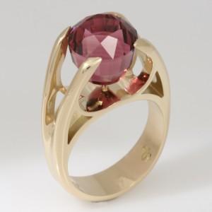 Handmade ladies 18ct yellow gold pink rubelite tourmaline ring
