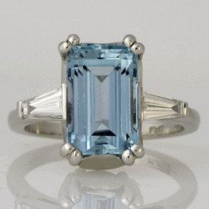 Handmade ladies platinum Aquamarine and baguette diamond ring