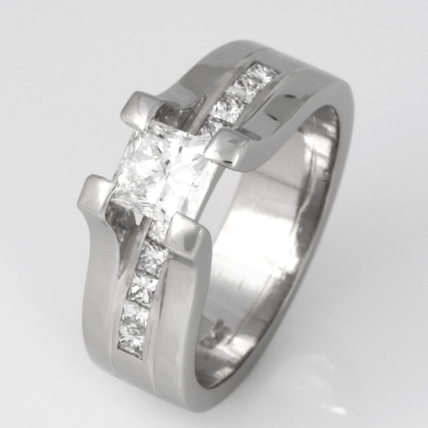 Handmade ladies platinum princess cut diamond engagement ring