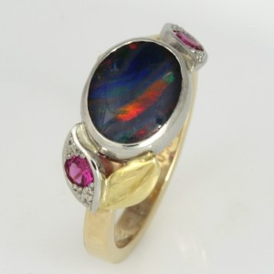 Handmade ladies 14ct yellow gold, 18ct green gold and palladium opal and red spinel ring