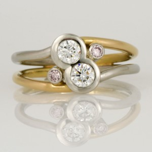 Handmade ladies palladium and 18ct yellow gold ring featuring 2 round white diamonds and two round pink diamonds
