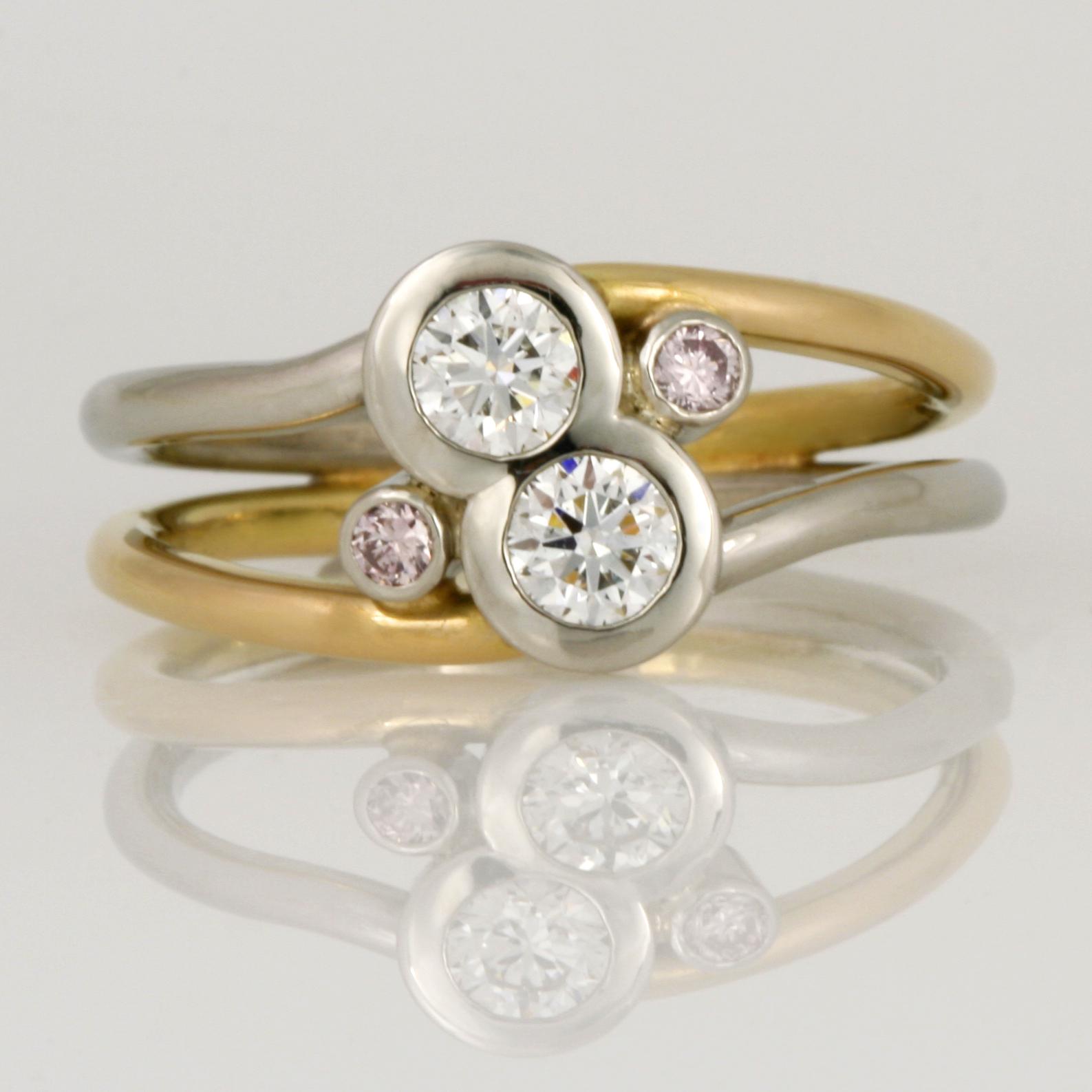 Handmade ladies palladium and 18ct yellow gold ring featuring 2 round white diamonds and two round pink diamonds
