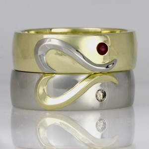 Handmade ladies 18ct green gold and palladium ruby and diamond rings