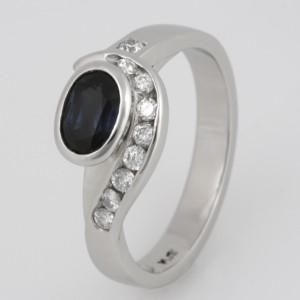 Handmade ladies platinum sapphire and diamond ring