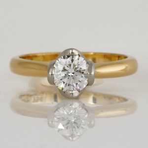 Ladies handmade 18ct yellow gold and platinum diamond engagement ring