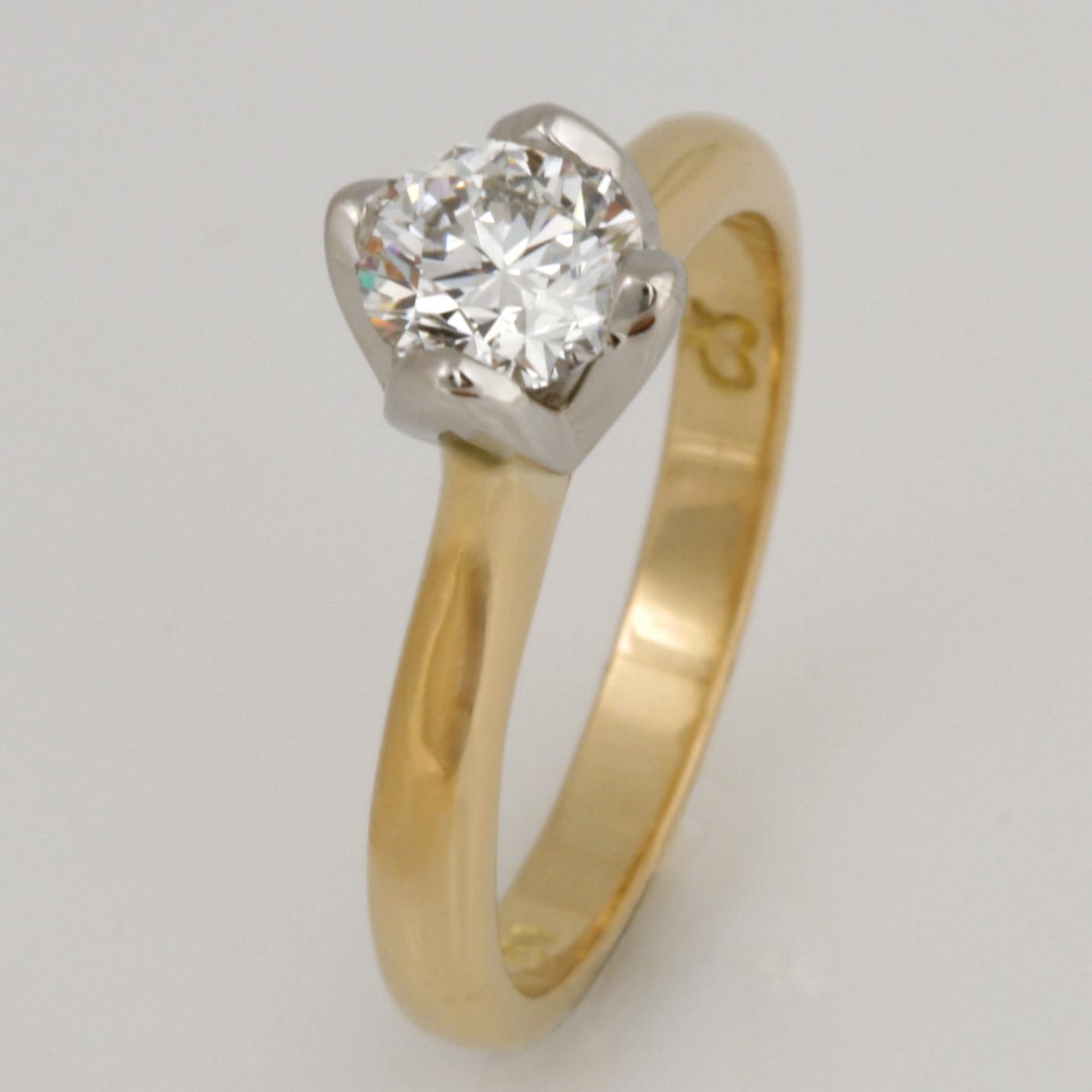 Ladies handmade 18ct yellow gold and platinum diamond engagement ring