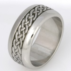 Handmade gents palladium hand engraved wedding ring