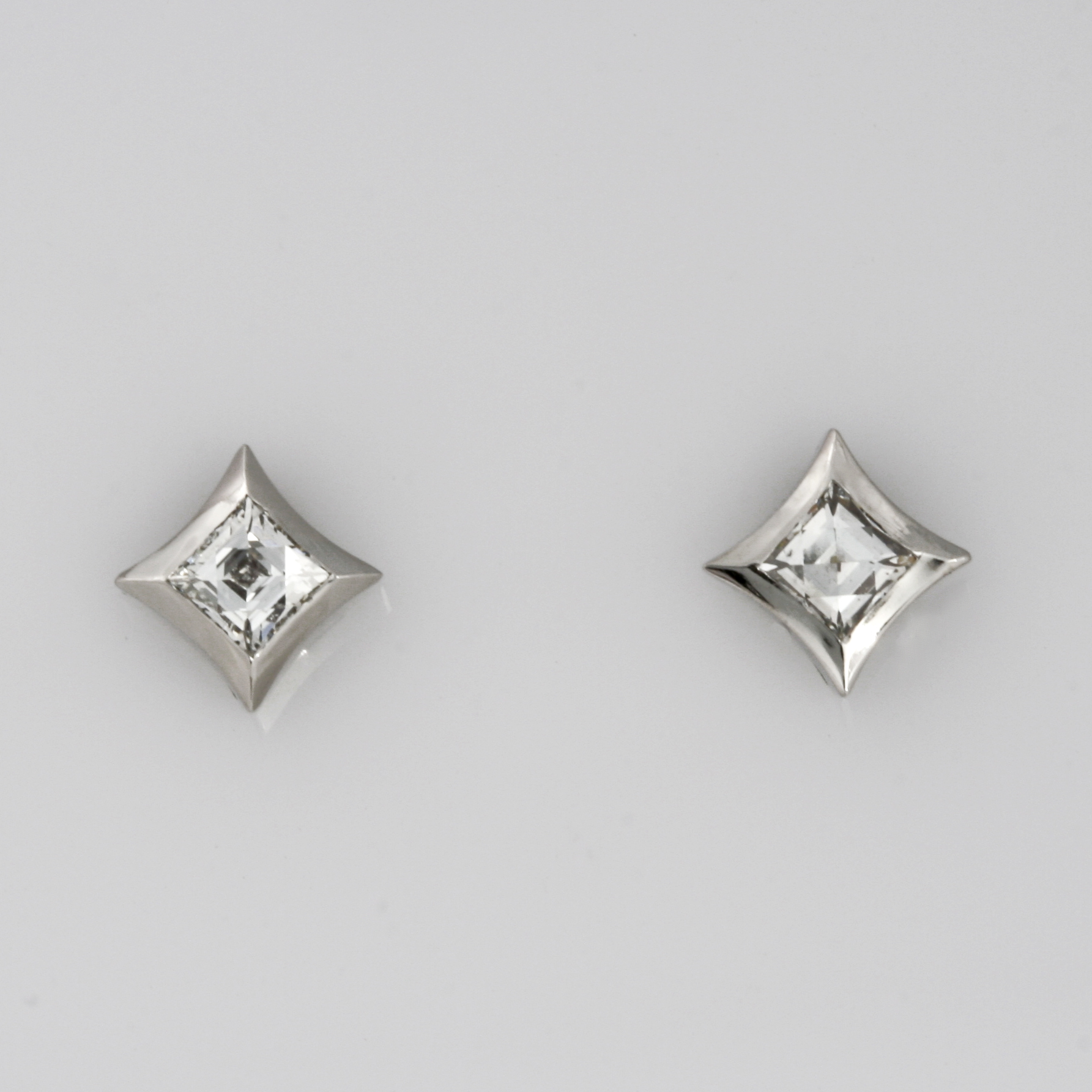 Handmade ladies palladium and 18ct white gold 'Tycoon' cut diamond stud earrings