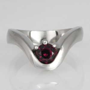 Handmade ladies palladium ruby engagement ring