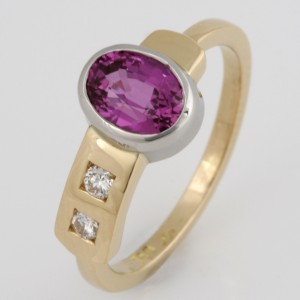 Handmade ladies 18ct yellow gold and palladium ring featuring a pink sapphire and diamonds