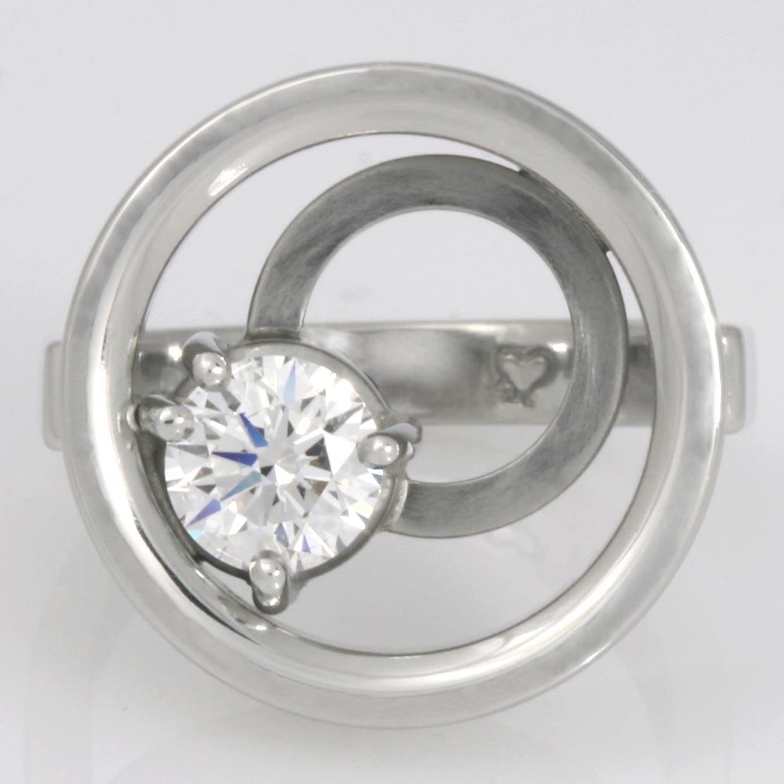 Handmade ladies palladium and platinum diamond engagement ring