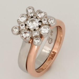 Handmade ladies 18ct rose gold wedding ring and diamond engagement ring set