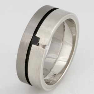 Handmade gents 9ct and 18ct white gold wedding ring featuring a princess cut black diamond