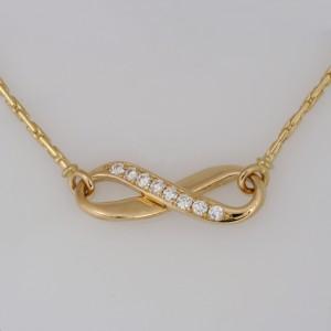 Handmade ladies 18ct yellow gold diamond infinity pendant
