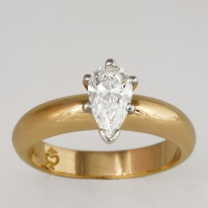 Handmade ladies 18ct yellow gold and platinum pear shape diamond engagement ring