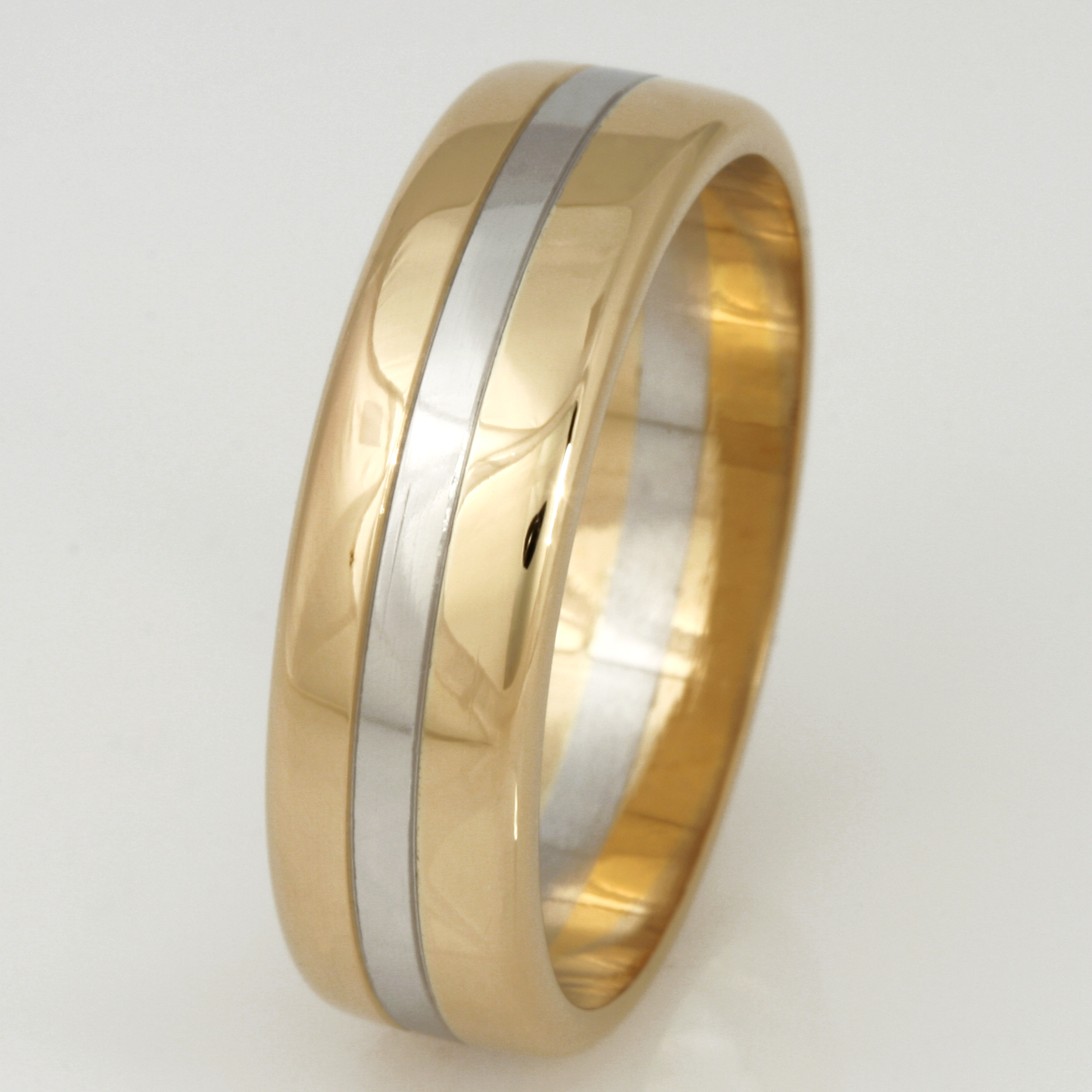 Handmade gents 18ct yellow gold and platinum wedding ring