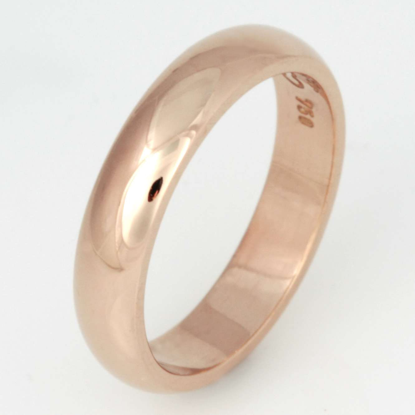 Handmade ladies 18ct peach gold wedding ring