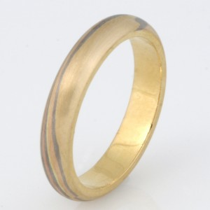 R035 18ct yellow, white and rose gold Mokume Gane ladies wedding ring $1150