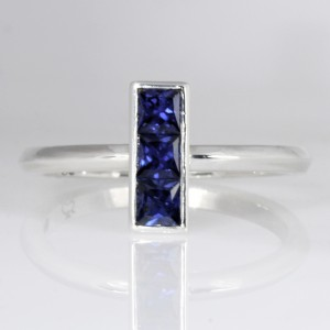 Handmade ladies sterling silver princess cut blue sapphire ring