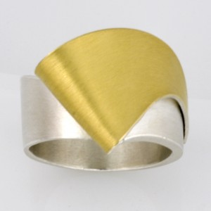 Sterling silver and gold ladies ring
