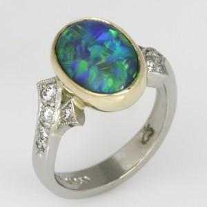 Handmade ladies 18ct green gold and palladium opal and diamond ring