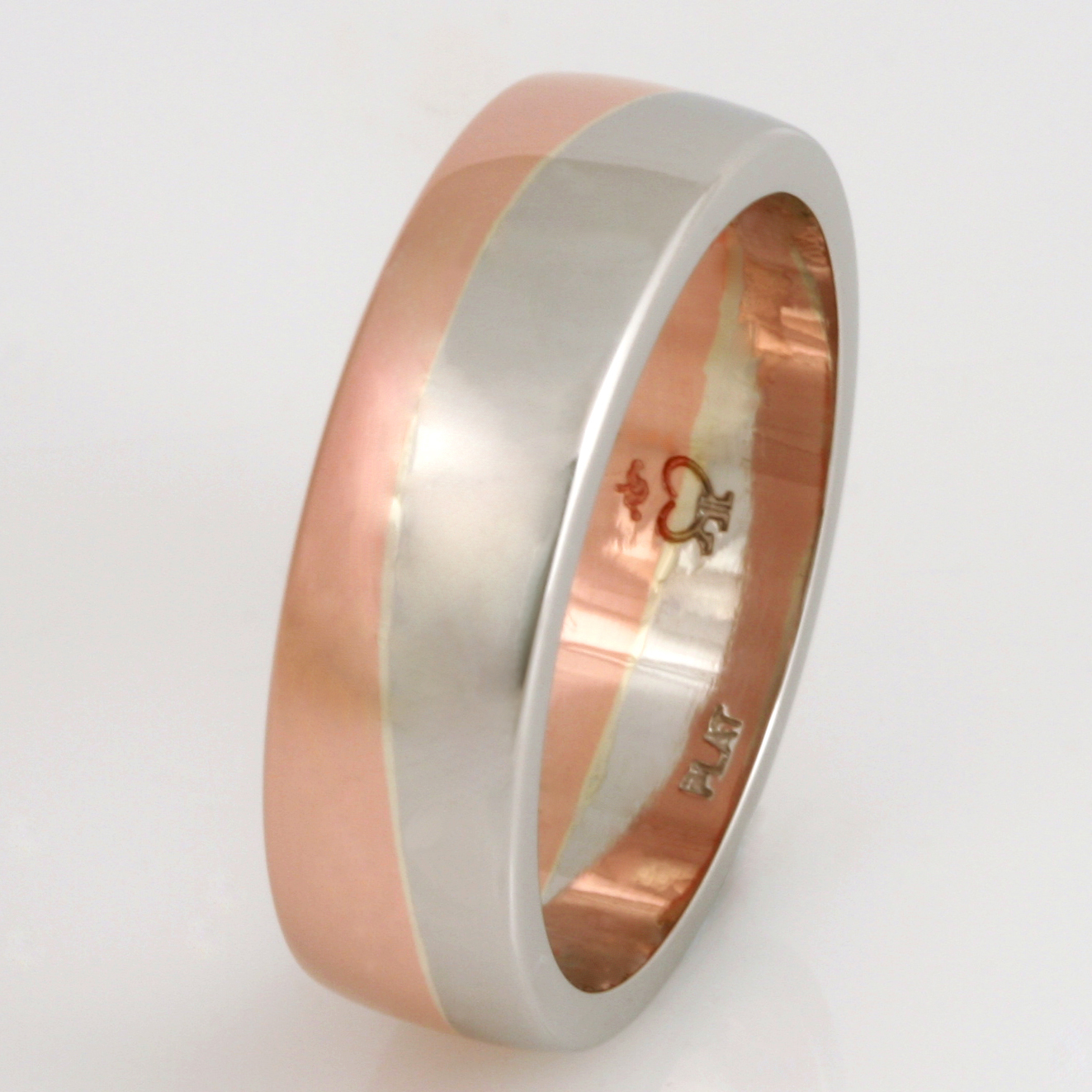 Handmade gents platinum and 18ct rose gold wedding ring