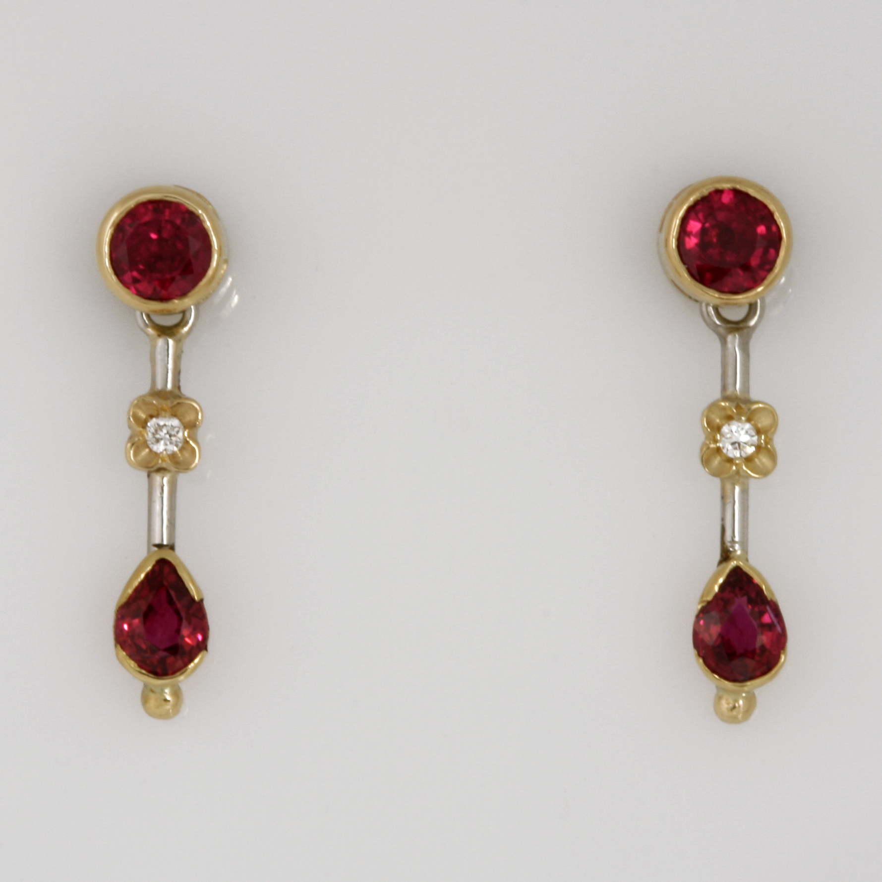 Handmade ladies 18ct yellow gold and palladium ruby and diamond drop earrings