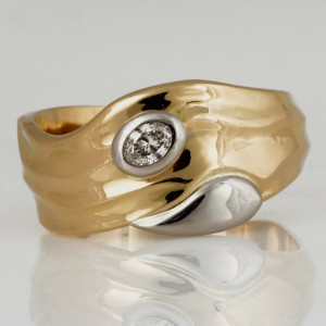 Handmade palladium and 18ct yellow gold oval diamond wedding ring