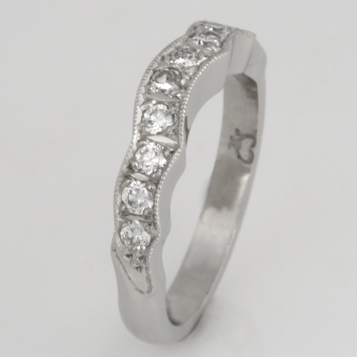 Handmade ladies palladium diamond set wedding ring