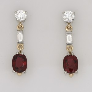 Handmade palladium and 18ct yellow gold ladies drop earrings featuring burmese spinels and diamonds