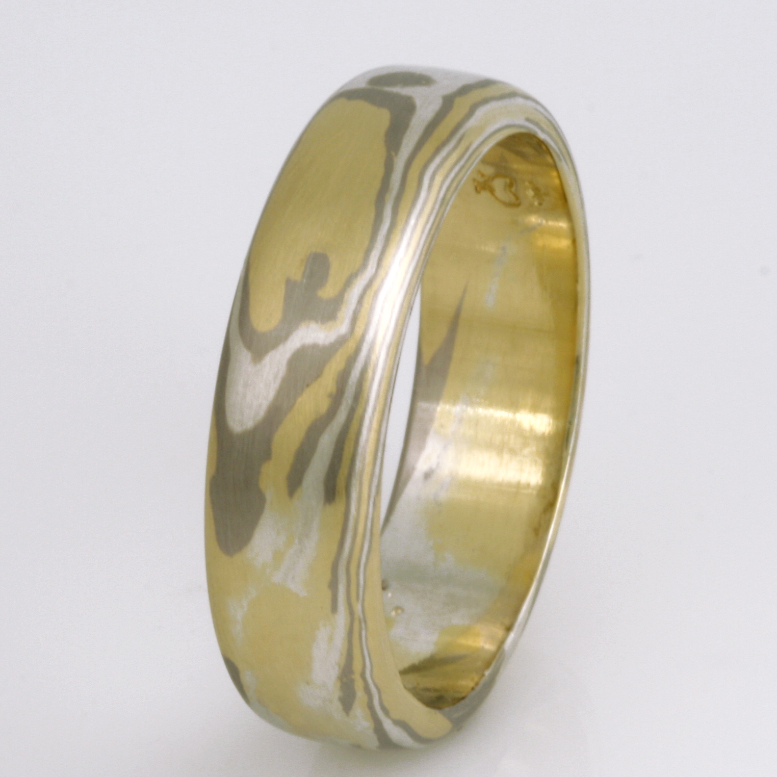 Handmade gents 18ct green gold, white gold and sterling silver Mokume Gane wedding ring