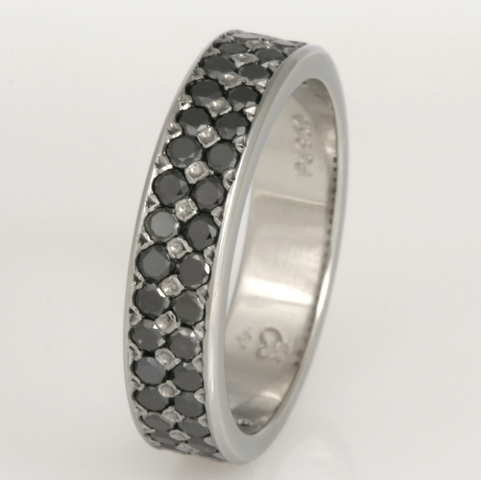 Handmade gents black diamond wedding ring