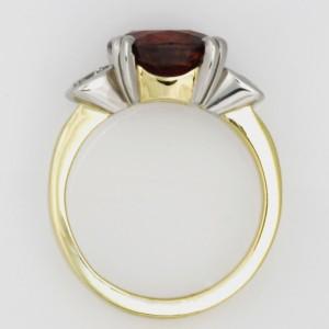 Handmade ladies palladium and 18ct yellow gold brown zircon and diamond ring