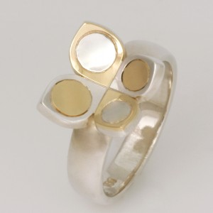 "R119 Sterling silver and 18ct yellow gold 'Butterfly Play' ring. Size ""N""  $430"