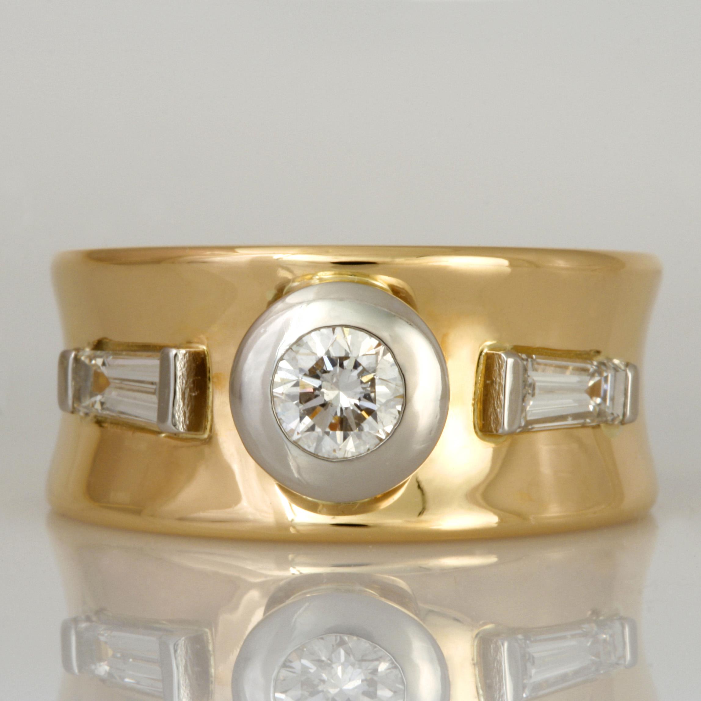 Handmade ladies 18ct yellow gold and platinum diamond ring