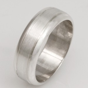 Gents sterling silver wedding ring with a bevelled edge