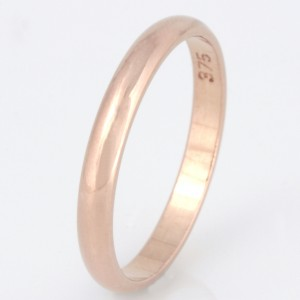 R003 9ct rose gold plain wedding ring. $460