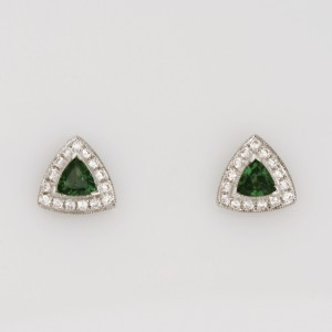 E111 18ct white gold earrings featuring tsavorite garnet and diamonds.  $680