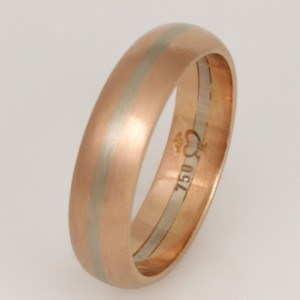 R023 18ct rose and white gold striped ladies wedding ring. $1287